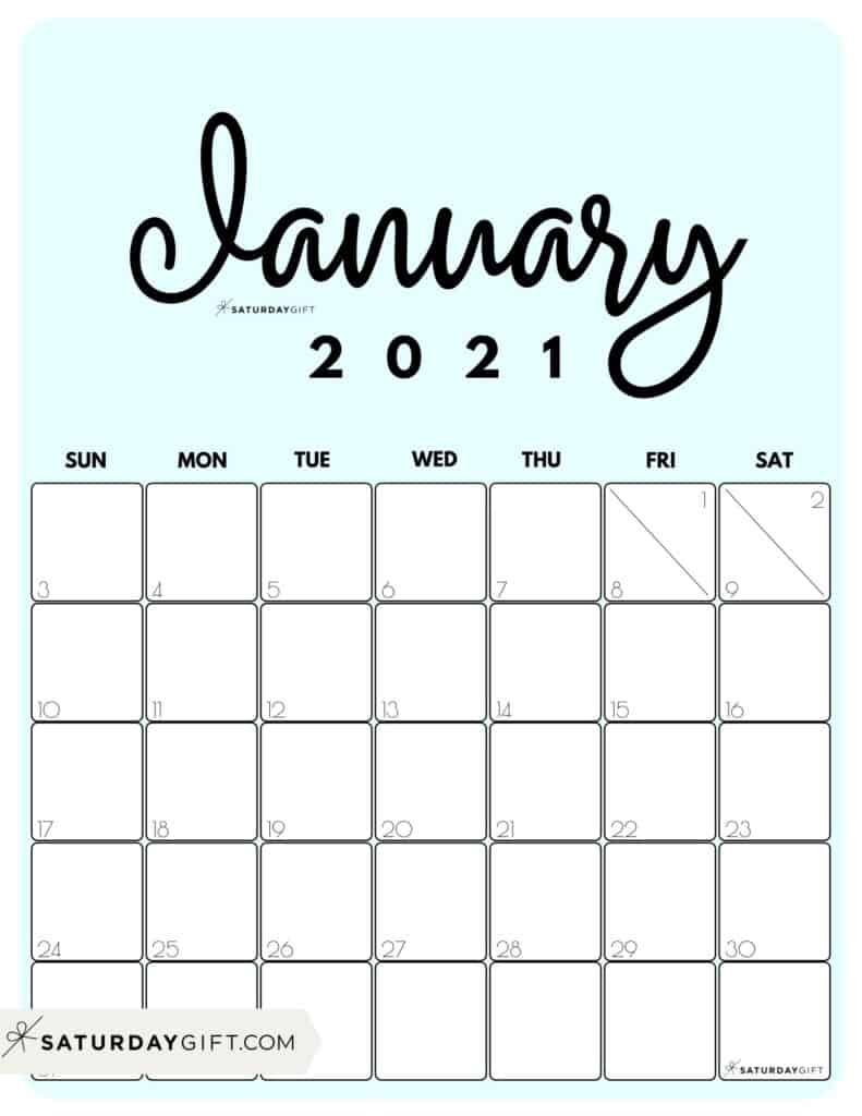 Cute Printable January 2021 Calendar by Month Blue Vertical Sunday-start | SaturdayGift