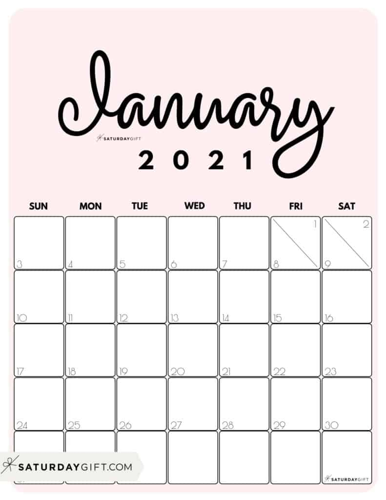 Cute Printable January 2021 Calendar by Month Pink Vertical Sunday-start | SaturdayGift