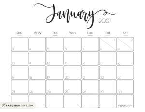 Elegant January 2021 calendar Free Printable Horizontal Sunday-Start   SaturdayGift