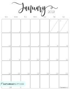 Elegant January 2021 calendar Free Printable Vertical Sunday-Start   SaturdayGift
