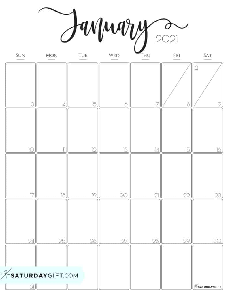 20+ January 2021 Calendar Big Numbers - Free Download ...