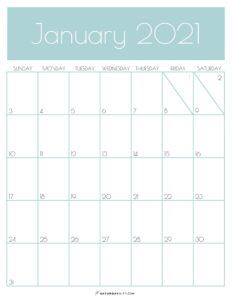 Green Monthly Goals January 2021 Calendar Vertical Sunday-start   SaturdayGift