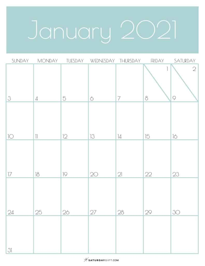 Green Monthly Goals January 2021 Calendar Vertical Sunday-start | SaturdayGift