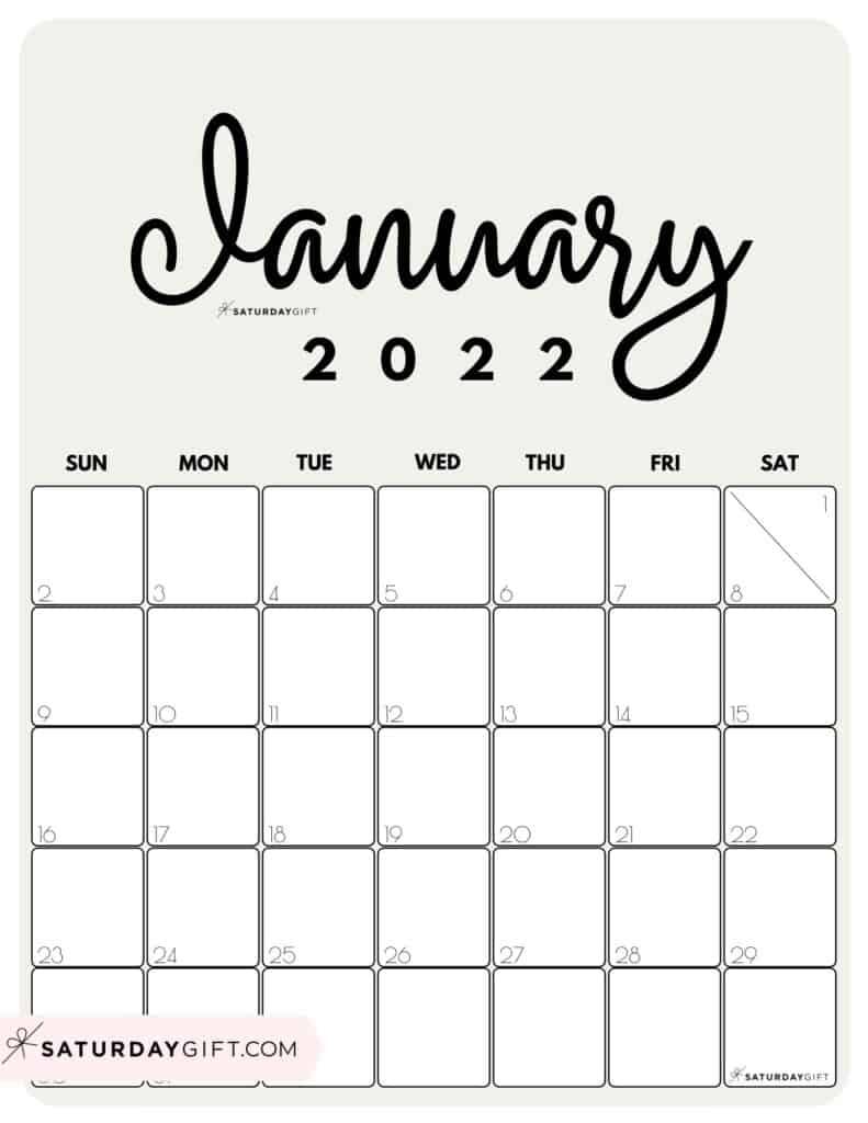 Cute Printable January 2022 Calendar by Month Beige Vertical Sunday-start | SaturdayGift