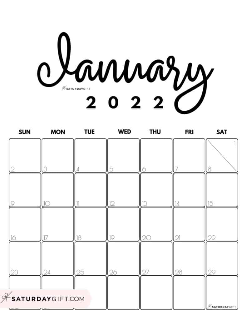 Cute Printable January 2022 Calendar by Month Black & White Vertical Sunday-start | SaturdayGift