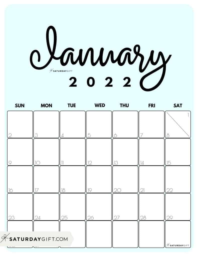 2022 January Calendar Printable.Cute Free Printable January 2022 Calendar Saturdaygift