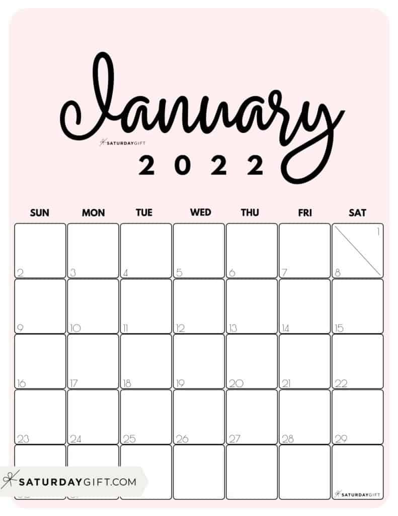 Cute Printable January 2022 Calendar by Month Pink Vertical Sunday-start | SaturdayGift