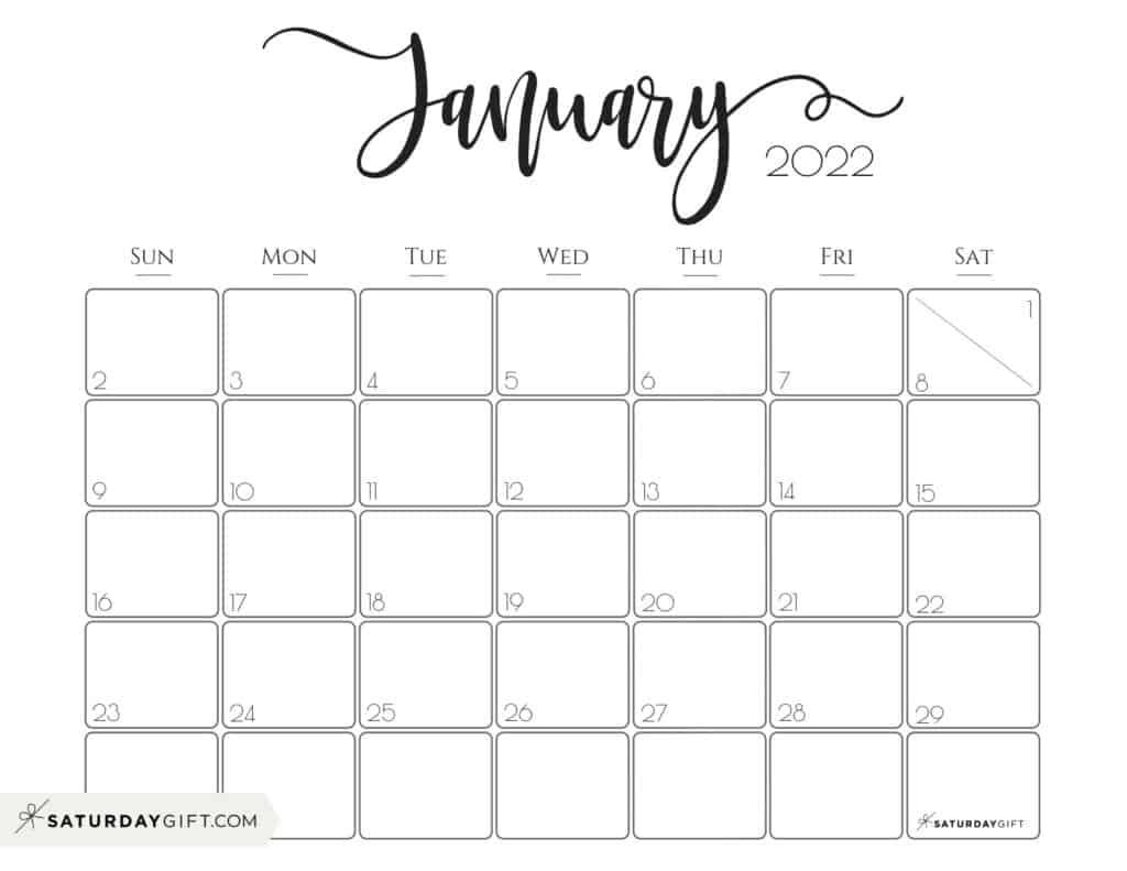 Elegant January 2022 calendar Free Printable Horizontal Landscape Black & White Sunday-Start | SaturdayGift
