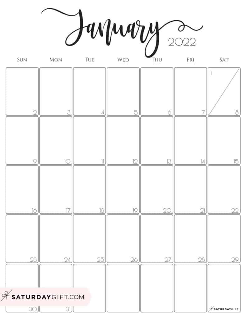 Calendar Of January 2022.Cute Free Printable January 2022 Calendar Saturdaygift