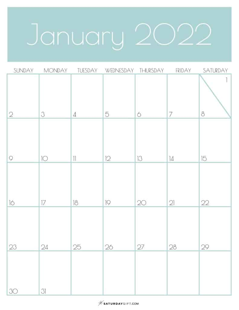 Green Monthly Goals January 2022 Calendar Vertical Sunday-start | SaturdayGift