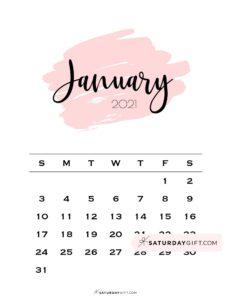 Monthly January 2021 Calendar Minimalistic Pink Brush   SaturdayGift