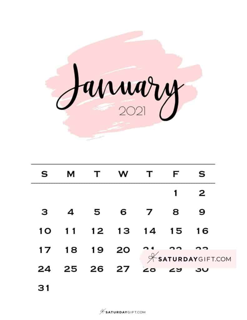 Monthly January 2021 Calendar Minimalistic Pink Brush | SaturdayGift