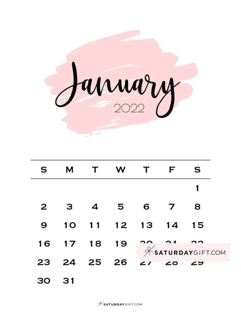 Monthly January 2022 Calendar Minimalistic Pink Brush | SaturdayGift