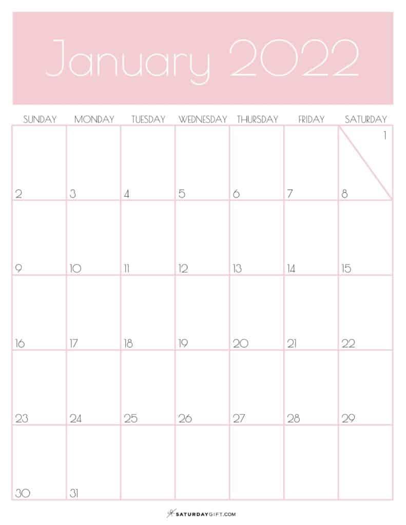 Pink Monthly Goals January 2022 Calendar Vertical Sunday-start | SaturdayGift
