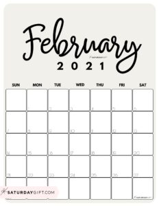 Cute Printable February 2021 Calendar by Month Beige Vertical Sunday-start   SaturdayGift
