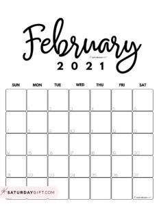 Cute Printable February 2021 Calendar by Month Black&White Vertical Sunday-start   SaturdayGift