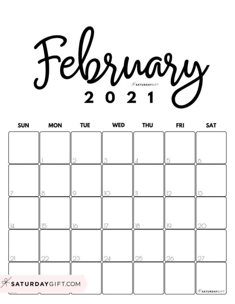 Cute Printable February 2021 Calendar by Month Black&White Vertical Sunday-start | SaturdayGift