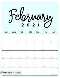 Cute Printable February 2021 Calendar by Month Blue Vertical Sunday-start   SaturdayGift