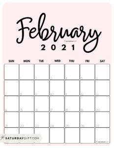 Cute Printable February 2021 Calendar by Month Pink Vertical Sunday-start   SaturdayGift