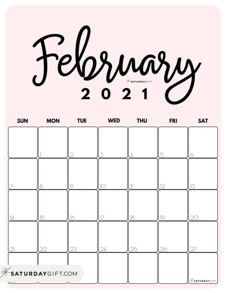 Cute (& Free!) Printable February 2021 Calendar | SaturdayGift