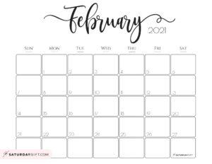 02 Elegant February 2021 calendar Free Printable Horizontal Sunday-Start   SaturdayGift