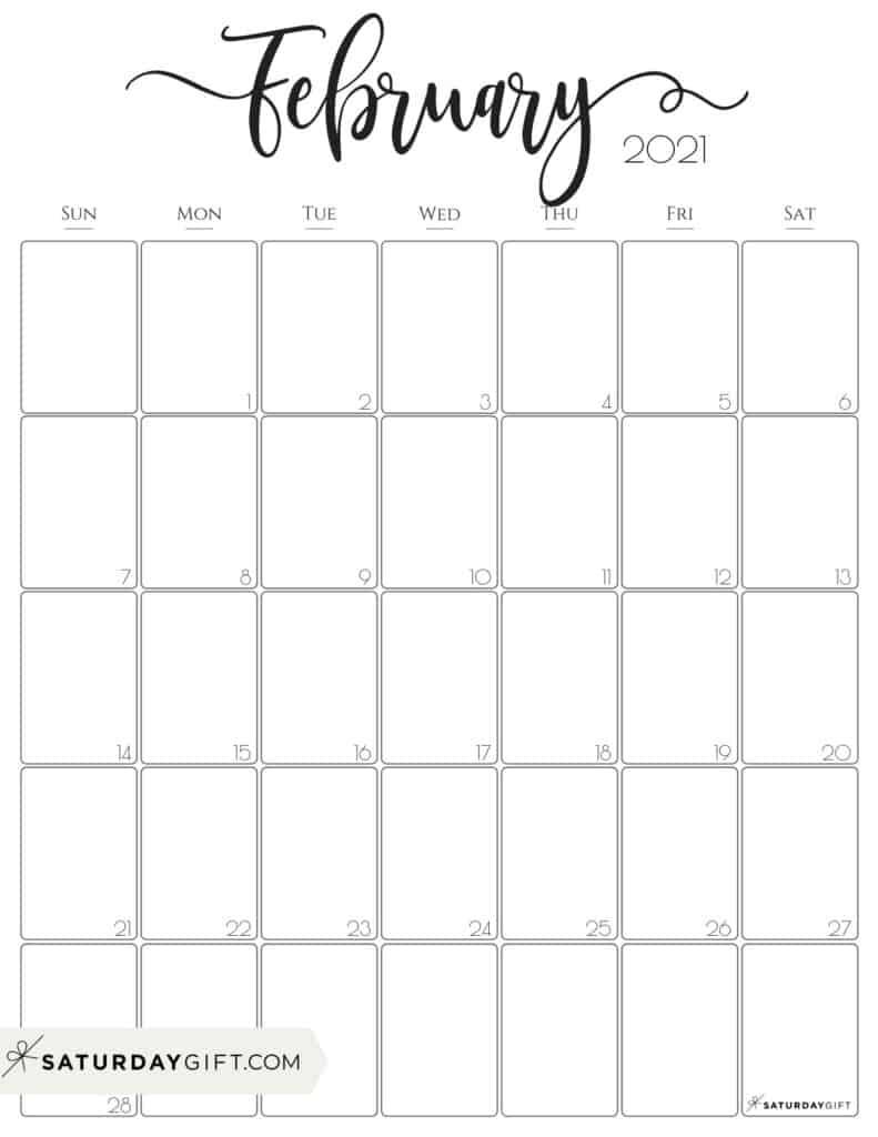 Elegant February 2021 calendar Free Printable Vertical Sunday-Start | SaturdayGift