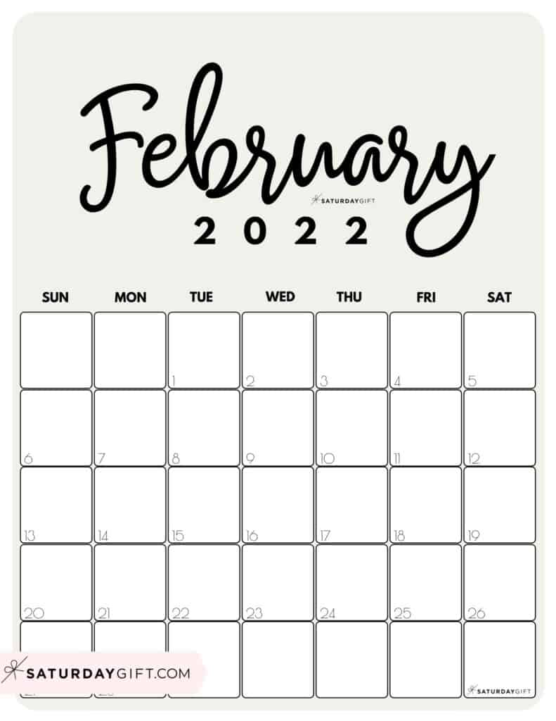 Cute Printable February 2022 Calendar by Month Beige Vertical Sunday-start | SaturdayGift