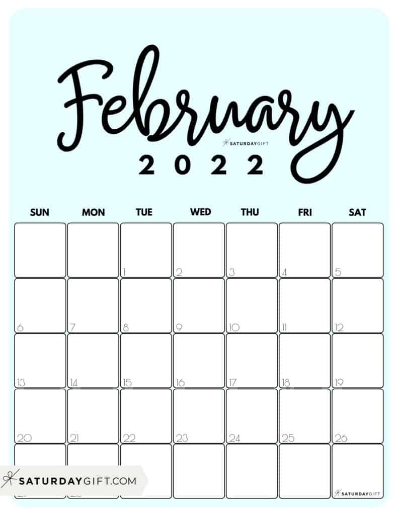 Cute Printable February 2022 Calendar by Month Blue Vertical Sunday-start | SaturdayGift