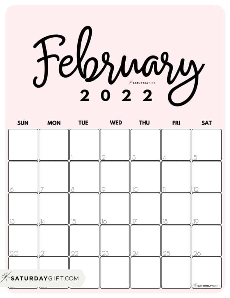 Cute Printable February 2022 Calendar by Month Pink Vertical Sunday-start | SaturdayGift