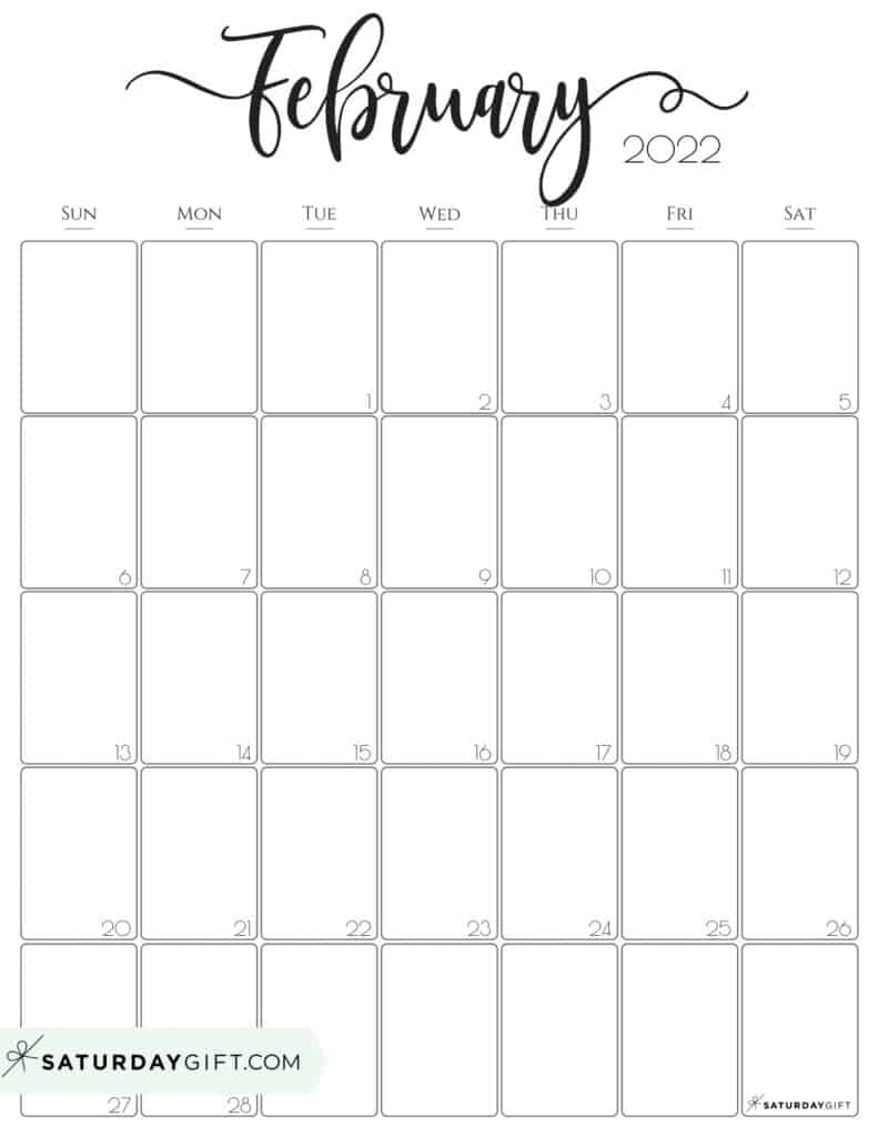 Calendar For February 2022.Cute Free Printable February 2022 Calendar Saturdaygift