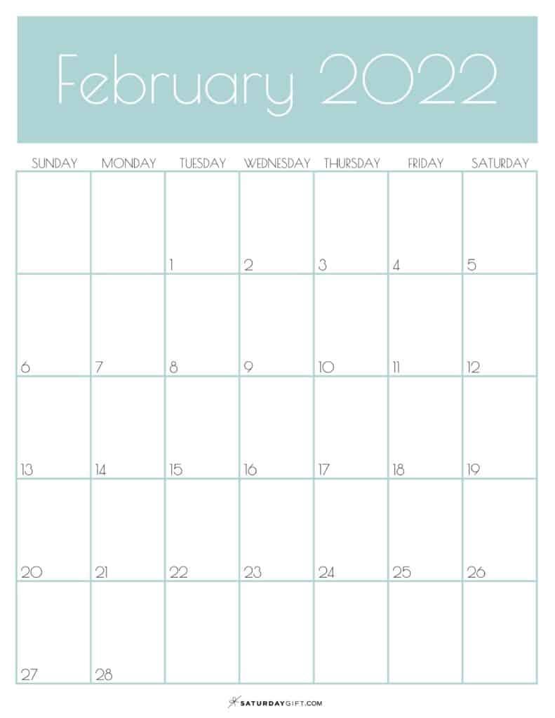 Green Monthly Goals February 2022 Calendar Vertical Sunday-start | SaturdayGift