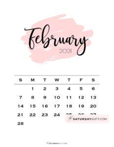 02 FEB Monthly February 2021 Calendar Sunday-start Minimalistic Pink Brush   SaturdayGift