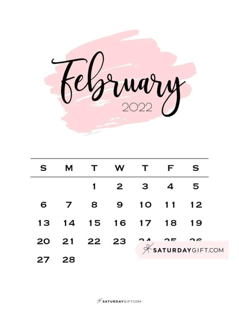 Feb 2022 Calendar.Cute Free Printable February 2022 Calendar Saturdaygift