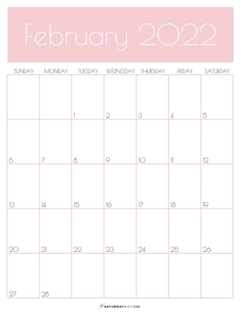 Pink Monthly Goals February 2022 Calendar Vertical Sunday-start | SaturdayGift