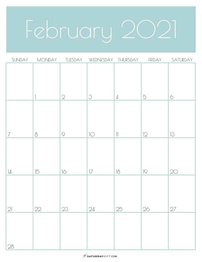 Green Monthly Goals February 2021 Calendar Vertical Sunday-start | SaturdayGift