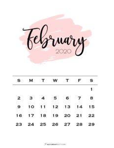 02 Monthly Calendar Pink Brush February 2020 | SaturdayGift