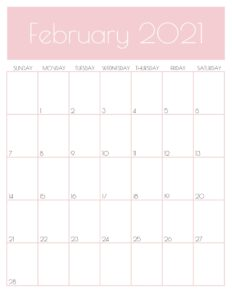 Pink Monthly Goals February 2021 Calendar Vertical Sunday-start   SaturdayGift