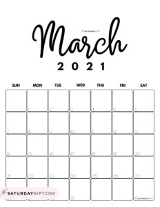 Cute Printable March 2021 Calendar by Month Black & White Vertical Sunday-start