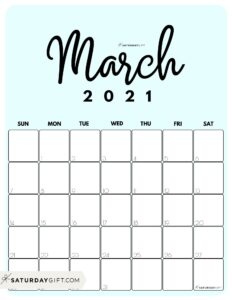 Cute Printable March 2021 Calendar by Month Blue Vertical Sunday-start