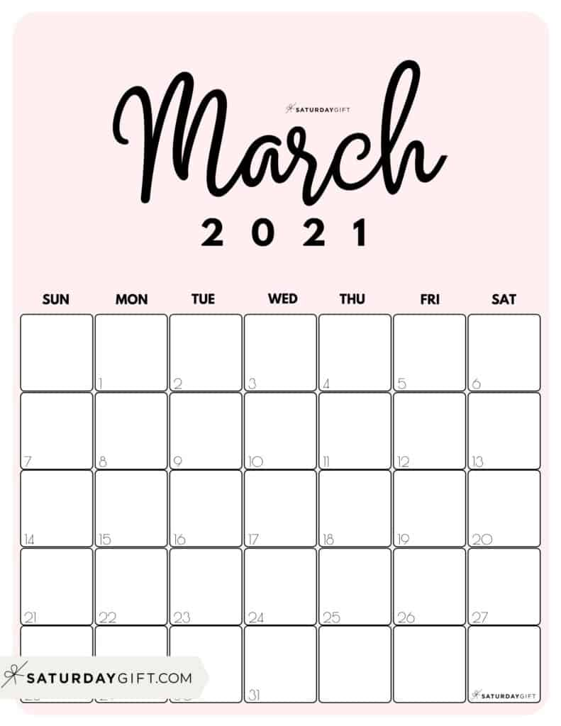 Cute Printable March 2021 Calendar by Month Pink Vertical Sunday-start