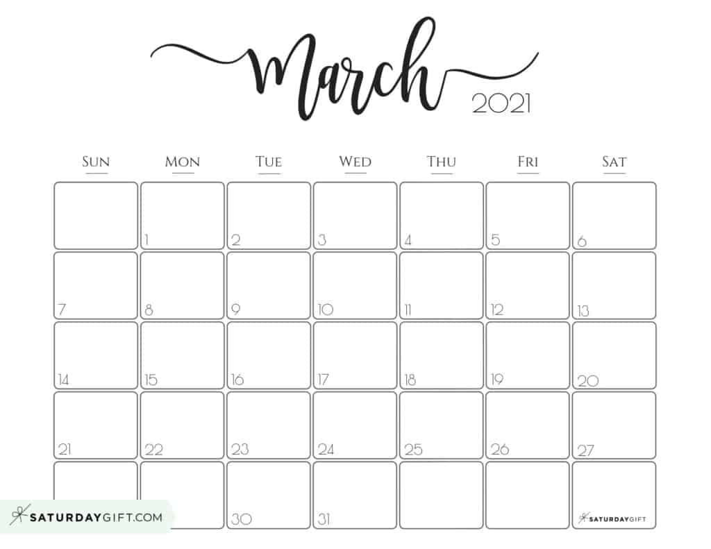 Elegant March 2021 calendar Free Printable Horizontal Sunday-Start
