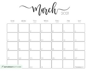 Elegant March 2021 calendar Free Printable Horizontal Sunday-Start