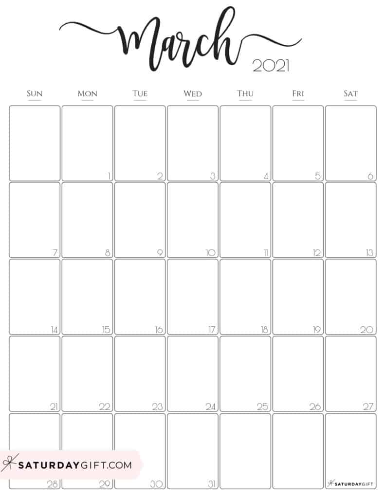 Elegant March 2021 calendar Free Printable Vertical Sunday-Start