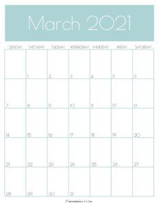 Green Monthly Goals March 2021 Calendar Vertical Sunday-start | SaturdayGift