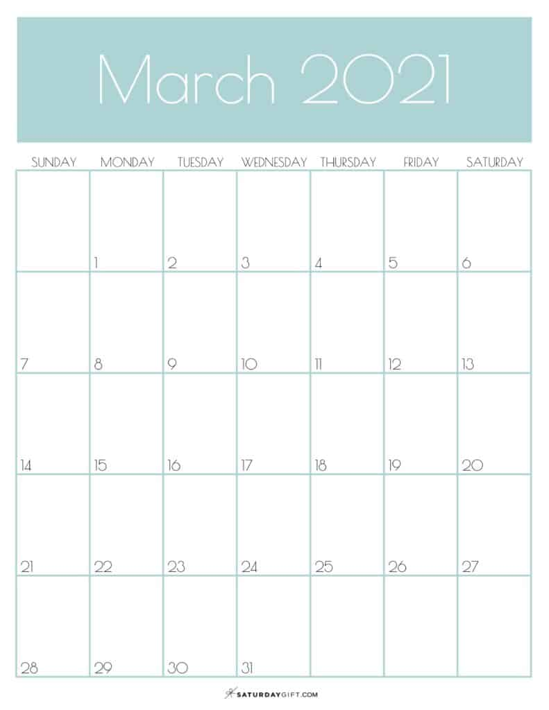 Green Monthly Goals March 2021 Calendar Vertical Sunday-start | SaturdayGift