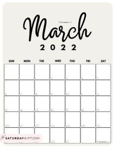 Cute Printable March 2022 Calendar by Month Beige Vertical Sunday-start   SaturdayGift