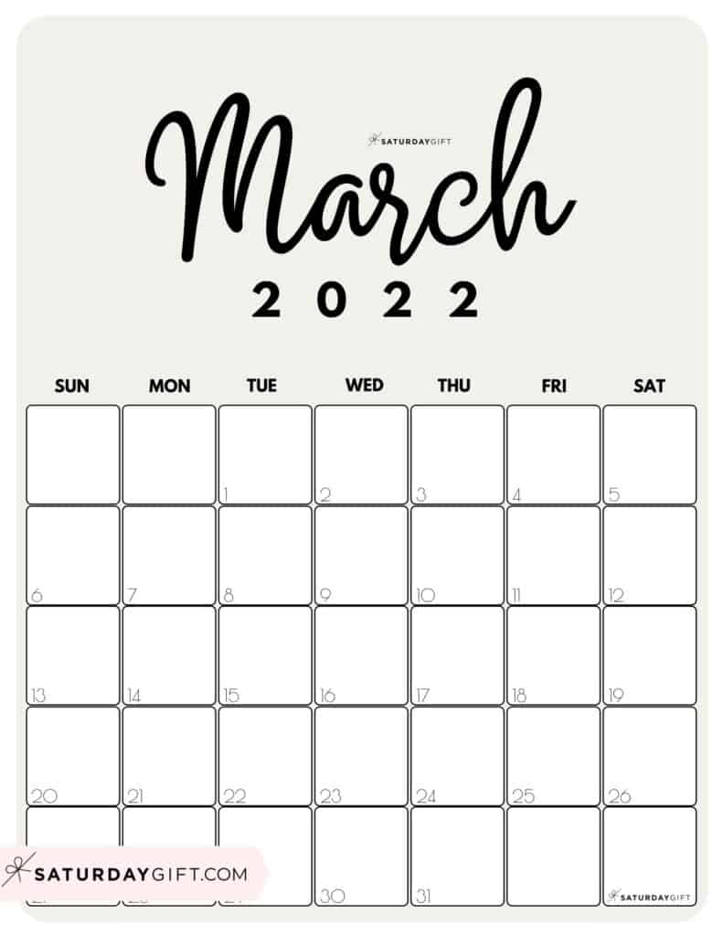 Cute Printable March 2022 Calendar by Month Beige Vertical Sunday-start | SaturdayGift