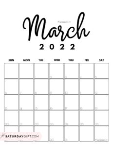 Cute Printable March 2022 Calendar by Month Black & White Vertical Sunday-start   SaturdayGift