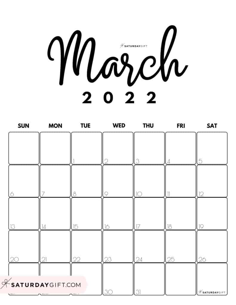Cute Printable March 2022 Calendar by Month Black & White Vertical Sunday-start | SaturdayGift