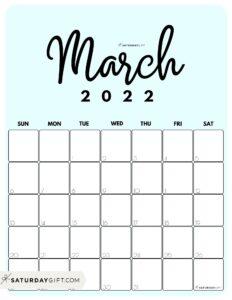 Cute Printable March 2022 Calendar by Month Blue Vertical Sunday-start   SaturdayGift